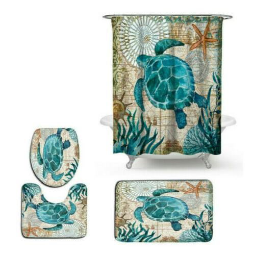 Sea Turtles Non-Slip Bathroom Shower Curtain Toilet Cover Ma