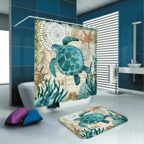 Sea Turtles Waterproof  Non-Slip Bathroom Shower Curtain Toi
