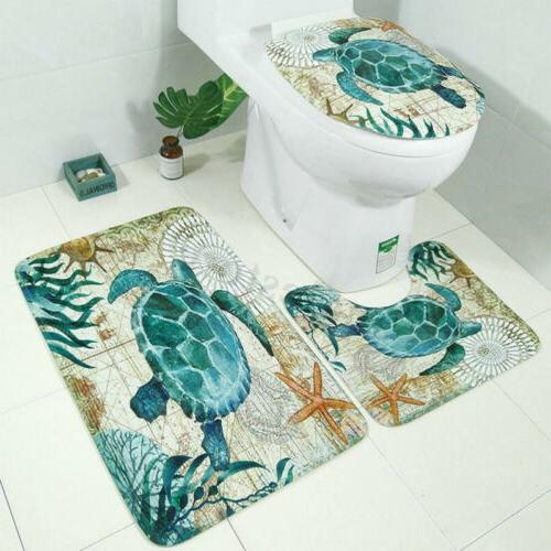 Sea Waterproof Non-Slip Bathroom Shower Curtain Cover Rug