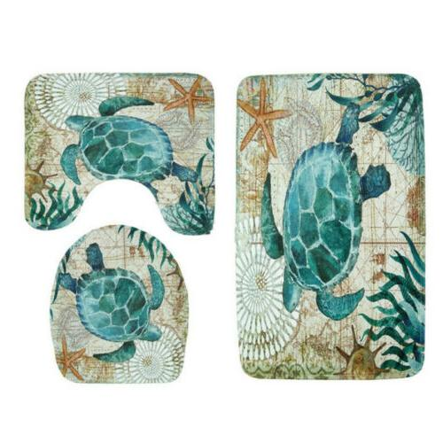 Sea Turtles Non-Slip Bathroom Shower Curtain Cover
