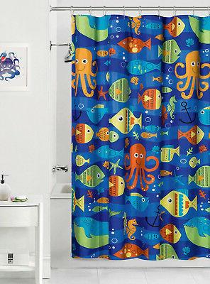 sealife colorful ocean fish fabric shower curtain