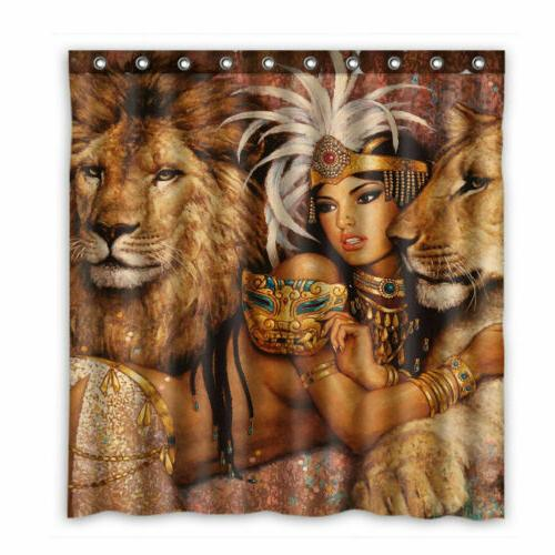 Shower Curtain African and Lions Decor Bath Hooks