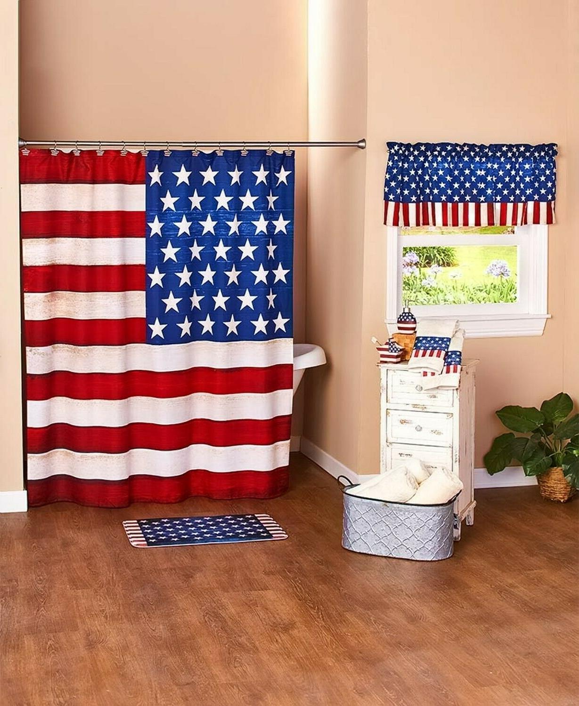 Shower American Patriotic Stripes Bathroom Home Decor