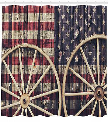 Shower Curtain Antique Wheels American Flag Western Decor 84