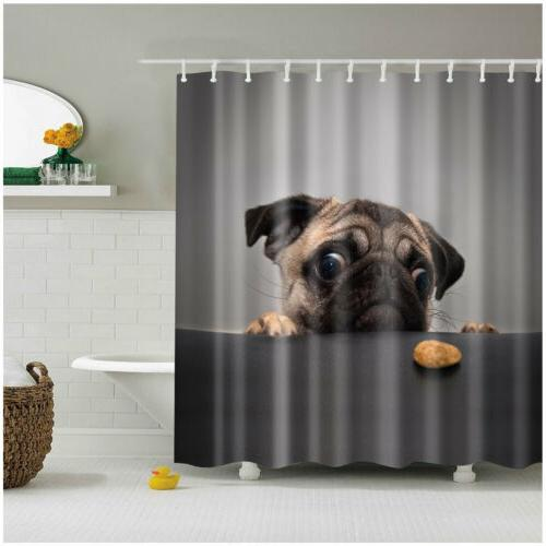 Shower Curtain Art Decor Animals Cute Pug Dog 3D Design Bath