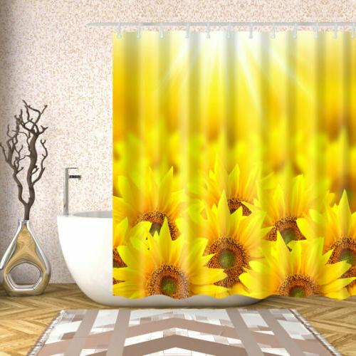 Shower Curtain Decor Set Sunflower Waterproof Bath Curtains