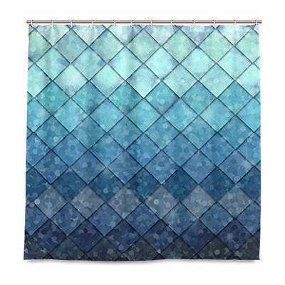 ALAZA Shower Curtain Backdrop Ocean Mermaid Fish Geometric