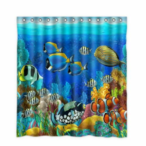 Shower Tropical Coral World Curtains + 12 Hooks