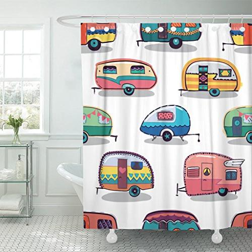 shower curtain caravan mid fifties