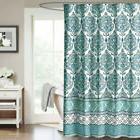 Shower Curtain Damask Medallion Blue Gray Filigree Decorativ