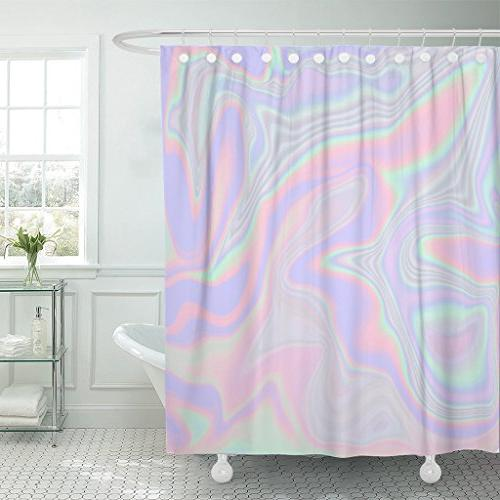 shower curtain holographic abstract pastel