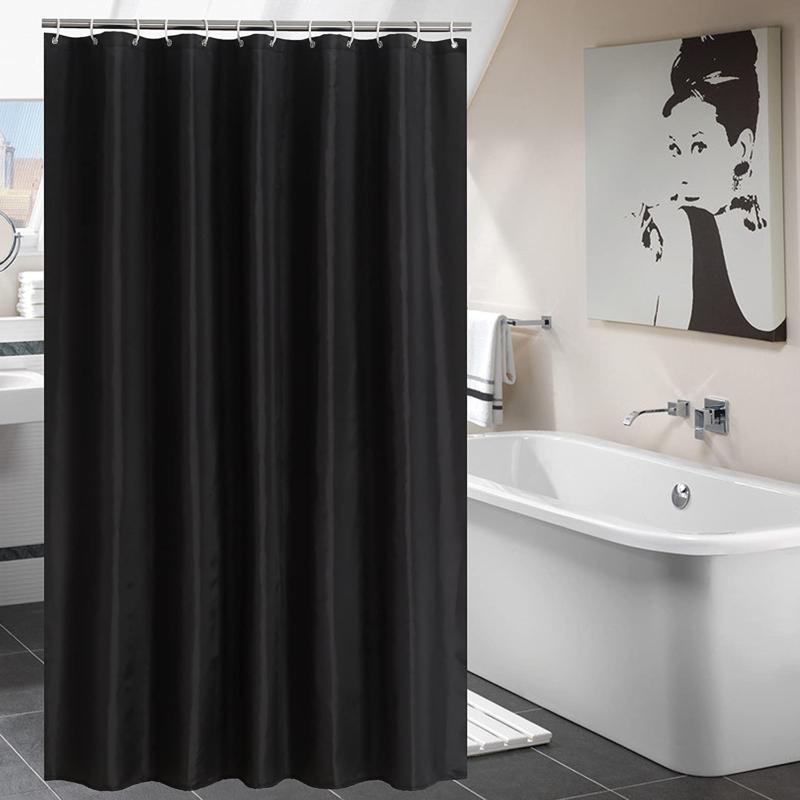 YUUNITY Shower Curtain Hooks Polyester 72x 80 Black