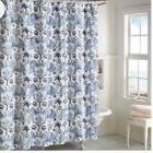 "Zanzibar Shower Curtain in Blue 72"" x 72"" Elephants Cotton"