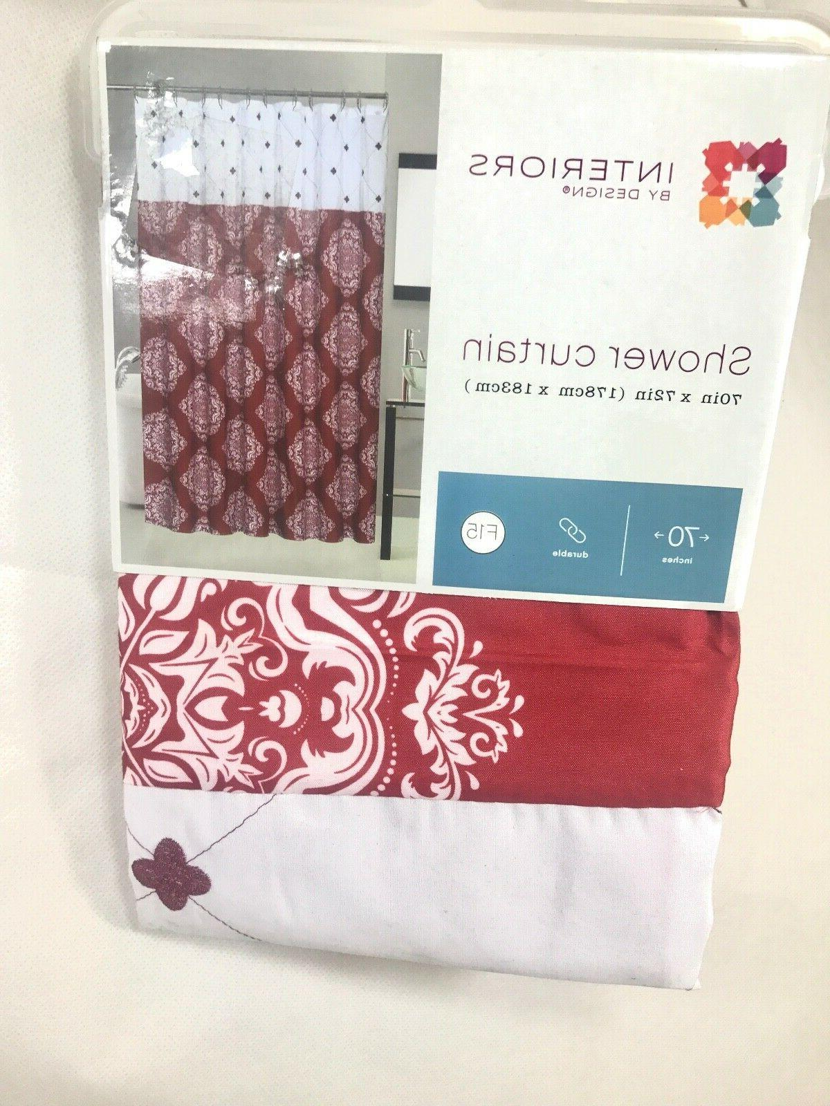 shower curtain interiors 70in x 72in red