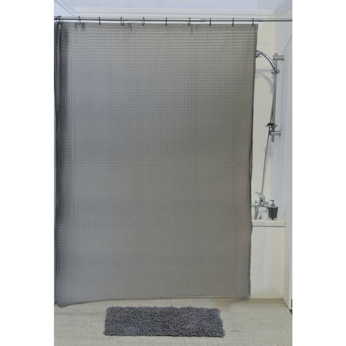 Evideco Shower Curtain Laser Eva 3D Effect Clear White or Gr