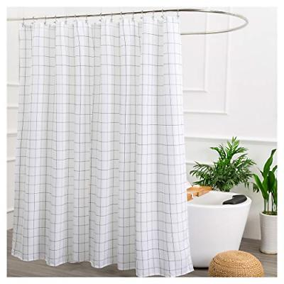 Aimjerry White and Black Lattice Fabric Shower Curtain for B