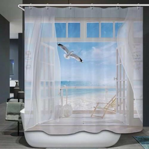 shower curtain ocean nautical seagull 3d window