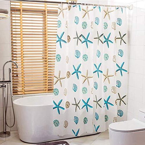 Meiosuns Curtain Theme Peva Waterproof Mildew Resistant Bathroom Home Shower with Grommets Curtain