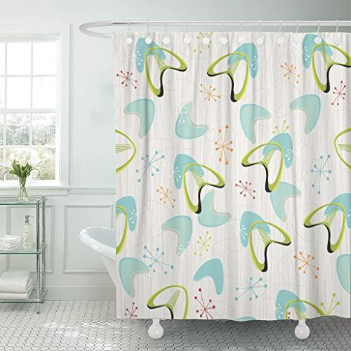shower curtain red 1950s retro