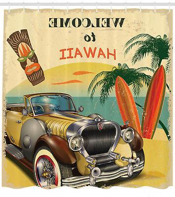 shower curtain retro welcome to hawaii american