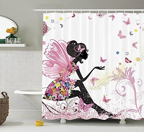 shower curtain set butterfly floral