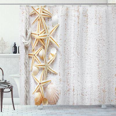 shower curtain shell decor starfish ocean beach