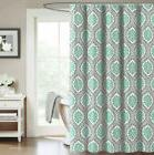 Shower Curtain Teal and Gray Medallion Damask Trellis Fabric
