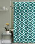 Shower Curtain Teal and Gray Quatrefoil Trellis Fabric Decor