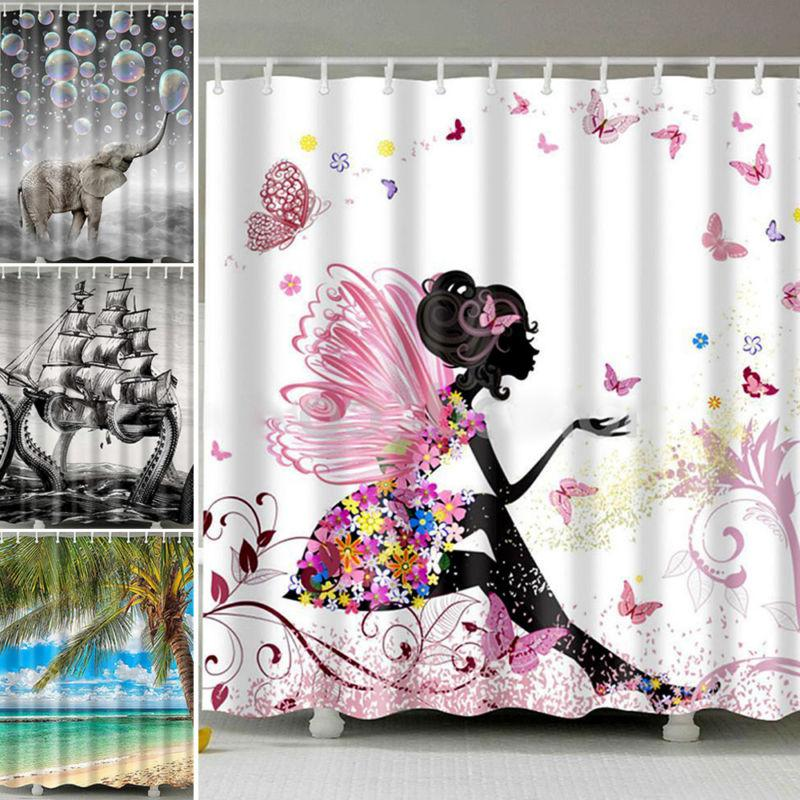 shower curtain waterproof polyester 3d printed pattern