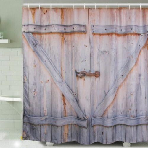 Polyester Wooden Barn Door Graphic Bath Bathroom Shower Curt