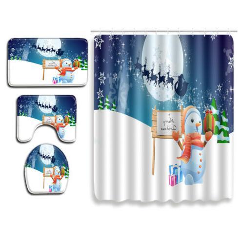 Shower Season Snowman Sleigh Moon Rug