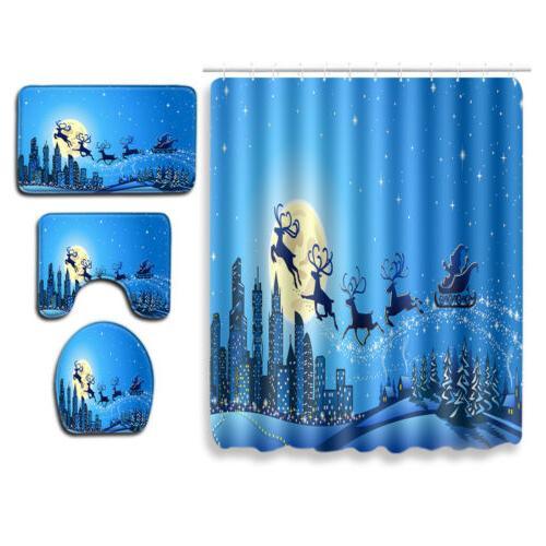Shower Curtain Winter Snowman Sleigh Rug