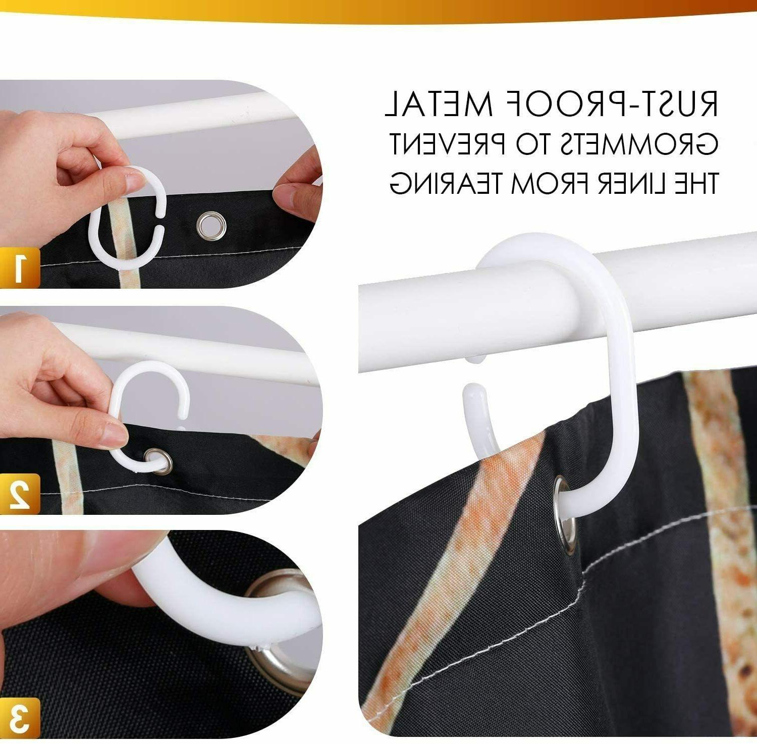 Amzdeal Shower Curtain with 12 Hooks Waterproof Washable