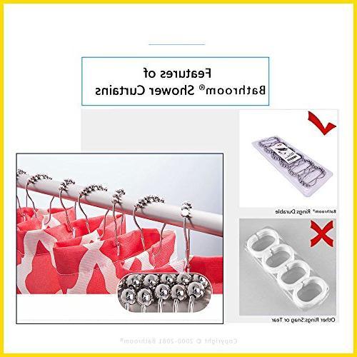 UHOO2018 Bathroom Bath Silver Glitter Background Mold Resistant Fabric Curtain/W48
