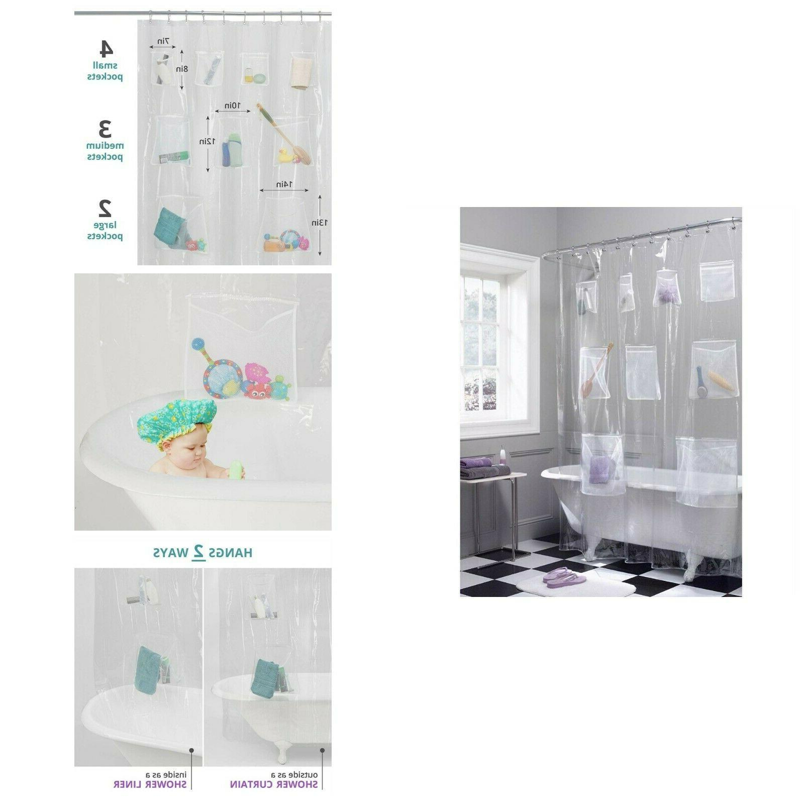 Shower Liner With  Shower Curtain Waterproof PEVA Bathroom C