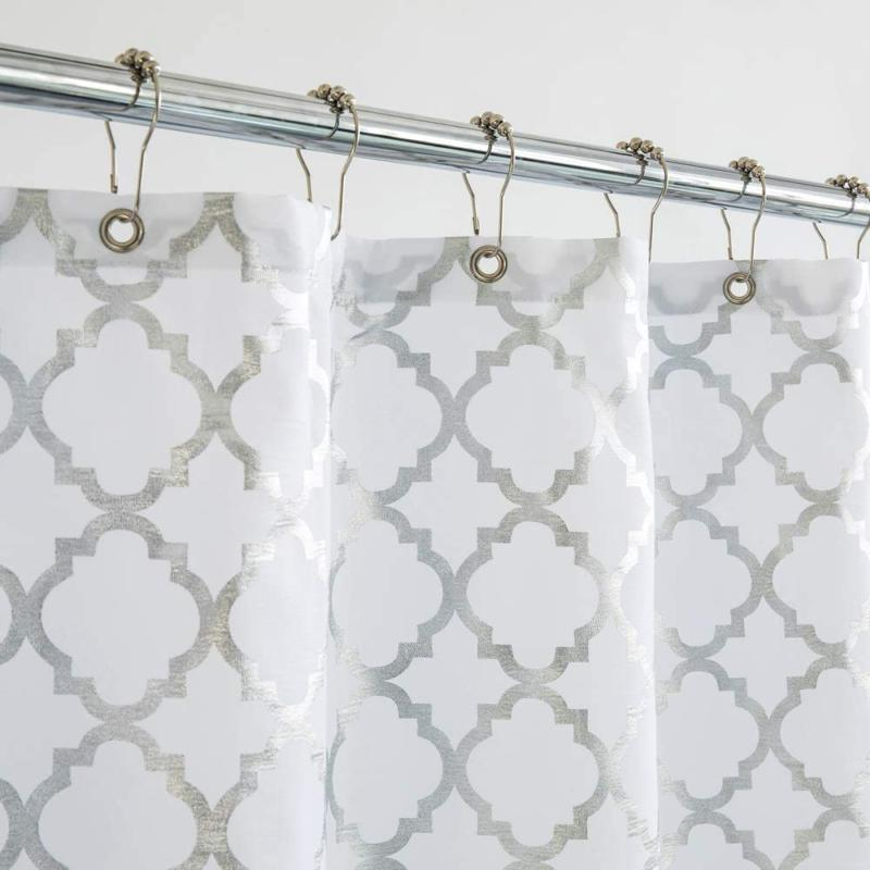 silver gray fabric shower curtain for bathroom