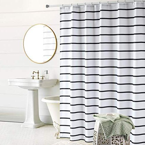 """Simple Curtain Water Repellent Resistant Washable Cloth White Plastic Hooks 72"""" x and White"""