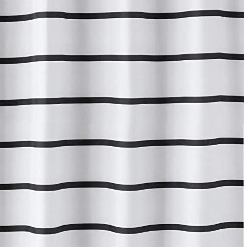 Simple Shower Curtain Water Repellent Resistant Washable and White Stripe