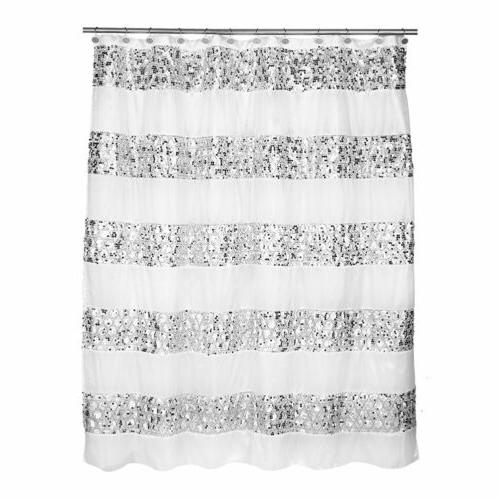 Popular Bath Sinatra Sequin Shower Curtain, White, 70x72 Inc