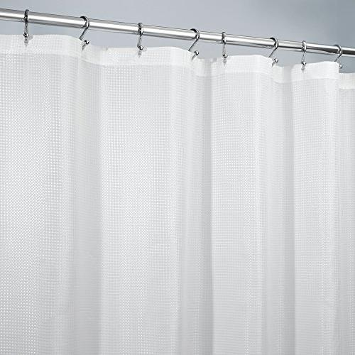 mDesign Long Light Polyester Shower with Showers and -Woven Geometric Square x Pack 2, White