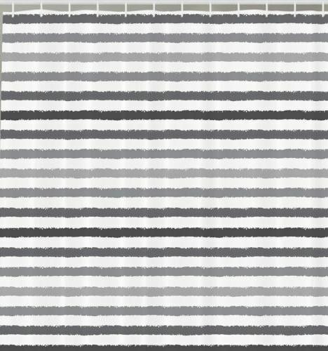 striped shower curtain set gray and white
