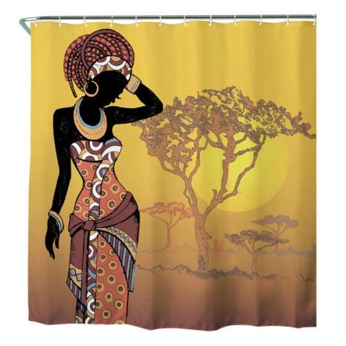 Stylish Printed Shower Curtain Set Waterproof Polyester Fabric w/Hooks
