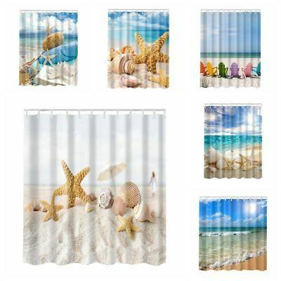Ocean Beach Nautical Coastal Sunset Bathroom Fabric Shower C