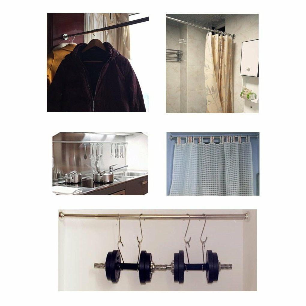 Tension Bathroom Shower Rod Adjustable Rail Hanging Pole