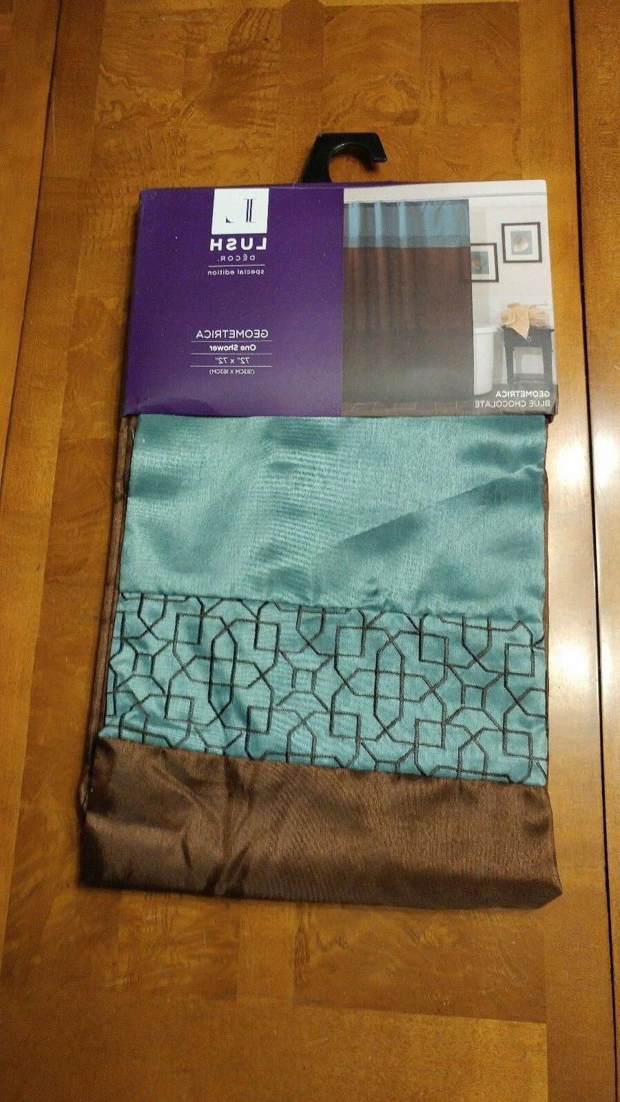 Lush Decor Terra Geometrica Shower Curtain, Blue/Chocolate,
