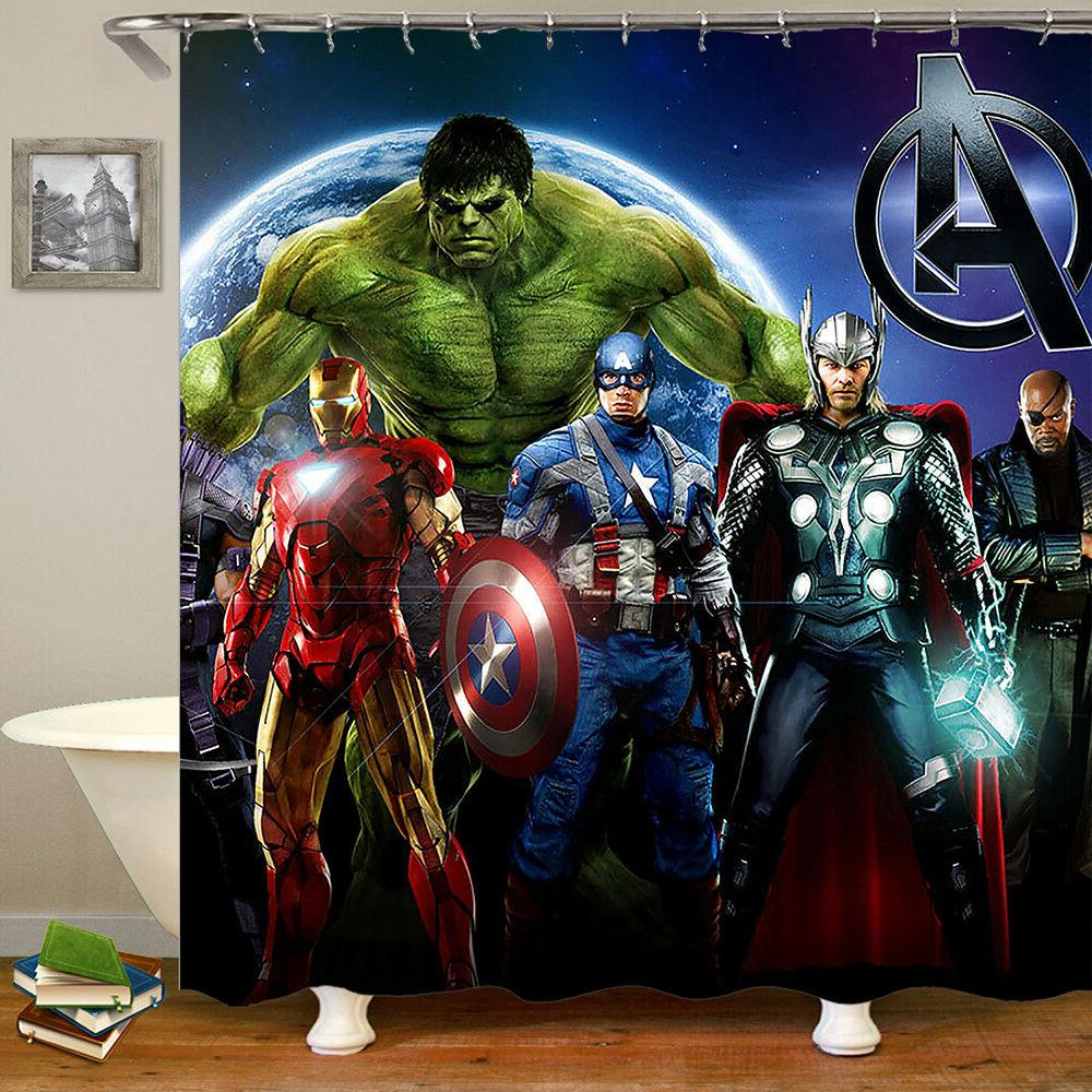 the avenger waterproof fabric shower curtain cartoon
