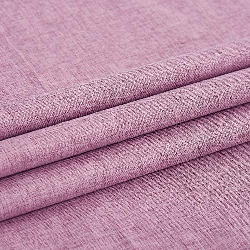 Deconovo Blackout with Coating Faux Linen Thermal Insulated Pink Grommet Curtains for Pink 52W 72L inch 2
