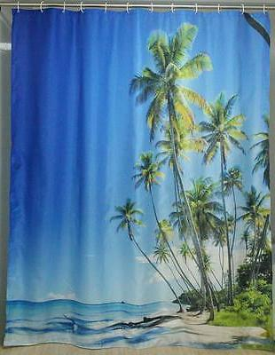 tropical beach fabric shower curtain
