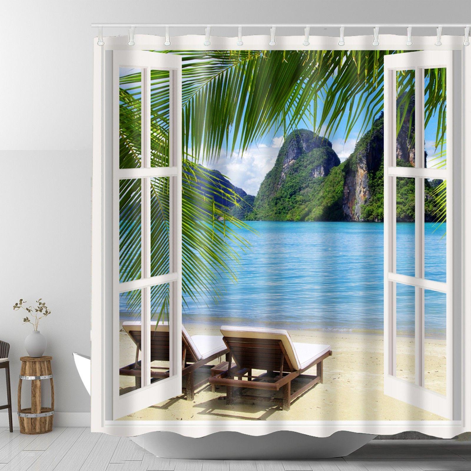 tropical ocean sandy beach graphic shower curtain