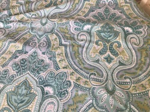 Tahari Turquoise White Fabric Shower Curtain